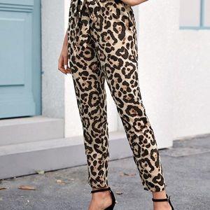 Paperbag Waist Belted Leopard Print Pants